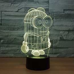 Minions Night Lamp Australia - 7 Colors Little Yellow 3D Led Night Lights USB Table Lamp Soccer Lampara Home Decor Bedroom Minions Sleep Night light