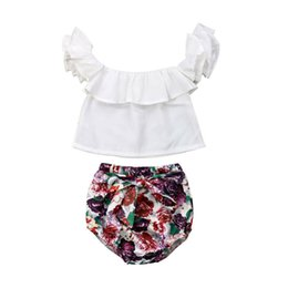 c80a832f2437 0-24M Newborn Baby Girls Clothing Princess Ruffle Solid Color T-shirt Tops+Floral  Bow Shorts 2Pcs Outfits Baby Girl Summer Sets