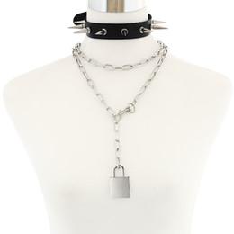 $enCountryForm.capitalKeyWord Australia - Punk Spike choker set padlock chain necklace metal chain collar goth pendant necklace women black leather emo festival jewelry