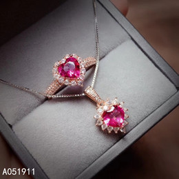 pink topaz rings 2019 - KJJEAXCMY fine jewelry natural pink topaz 925 sterling silver women pendant necklace chain ring set support test popular