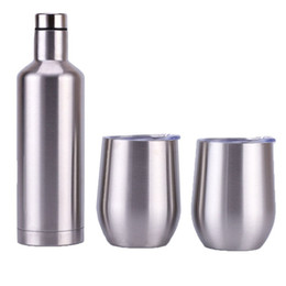thermos lens 2019 - 500ml Red Wine Bottle Set 12oz Egg-shaped Red Wine Cup Double Layer 304 Stainless Steel Vacuum Flask Insulation Thermos