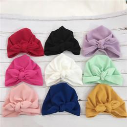 $enCountryForm.capitalKeyWord Australia - Europe Infant Baby Girls Hat Bowknot Headwear Hat Child Toddler Kids Beanies Turban Bowknot Hats 9 Colors