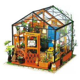 model house kit diy UK - Robotime Miniature Doll House Diy Kathy's Green Garden With Furniture Children Adult Model Building Kits Dollhouse Dg104 Y19070503
