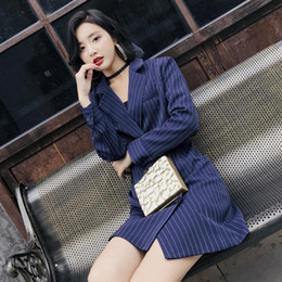 Velour Leisure Suits Women NZ - Fall Nice New Mid-long Suit Women&s Korean Edition Slim Suit Leisure Korean Vertical Stripe Autumn Outerwear