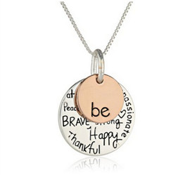 "Wholesale Pendant Engraving Australia - Hand stamped ""Be"" Graffiti Friend Brave Happy Necklace Cute coin Engraved Necklace Pendant For Women Girl Jewelry Friendship Gift"