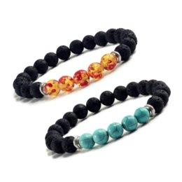 $enCountryForm.capitalKeyWord Australia - Natural Volcanic Stone Bracelets Charm Women Chakra Balance Beads Men Black Lava Turquoises Strand Bangle Fashion Buddha Jewelry