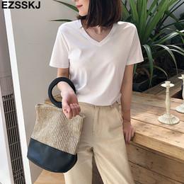 $enCountryForm.capitalKeyWord Australia - Chic Casual 95% Cotton T Shirt Short Sleeve Women Summer Basic V-neck T Shirt Plus Size 3xl Candy Color T-shirt Tee Female GMX190705