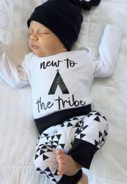 New Autumn Baby Boy Girl Clothes Infant Newborn Cotton Fashion Bodysuit Romper Pant Hat 3pcs k Giyim Child Clothing on Sale