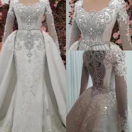 Discount rhinestone sequin mermaid wedding dress - Luxury Mermaid Beaded Crystals Wedding Dresses With Detachable Skirt 2019 Vintage Long Sleeve Rhinestones Long Dubai Ara