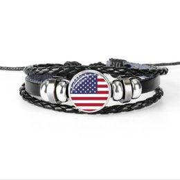 $enCountryForm.capitalKeyWord UK - Handmade Genuine Leather Rope Beaded Jewelry Popular Glass Cabochon USA National Flag World Cup Football Fan Accesories Bracelets Women Men