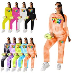 $enCountryForm.capitalKeyWord NZ - Women Outfits Hoodie Designer Tracksuit Pullover Legging Fashion Letter Lips Print Suit Womens Tops Blouses