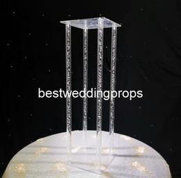 Discount crystal wedding cake stands - New style Crystal Clear Acrylic Square flower rack cake display Wedding Birthday Display flower Stand best01127