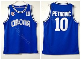 Wholesale Cibona Zagreb College Drazen Petrovic Jersey Men Team Color Blue University Petrovic Basketball Jerseys Uniform Breathable Good Quality