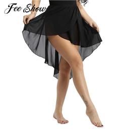 4b79ea67c13cf Femmes élégantes Mesdames Ballet jupe Ceinture élastique -Dip asymétrique  en mousseline de soie Performance adulte Costume Ballet Danse Jupe