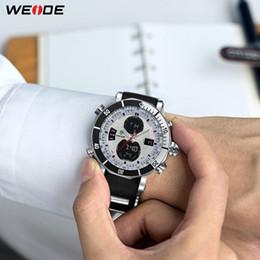 Black Bracelet mans silicone online shopping - WEIDE Mens Top Luxury Brand Men Watches Quartz Watch Analog Waterproof Sports Army Military Silicone Bracelet Wristwatch Clock