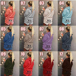 $enCountryForm.capitalKeyWord NZ - women flannel pajamas casual suit hoodie shorts sports suit letter pullover short pants nightdress tracksuit lady fall winter outfits