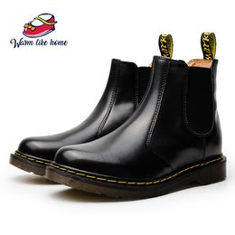 Black high ankle shoes for men online shopping - 34 Chunky Motorcycle Boots For Women Men Autumn Ankle Slip Ons Fashion Round Toe Combat Boots Ladies Shoes Warm