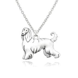 Vintage brass animals online shopping - Vintage Boho Afghan Hound Dog Charm Pendant Long Chain Necklace Women Men Choker Colar Animal Jewelry Bijoux Femme Party Gift