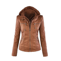 Leather sLeeve jackets for women online shopping - Designer women s long sleeve plain color zipper leather garment large size jacket for women autumn new style
