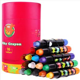 Discount kids stationery gift sets Safe Non Toxic Stationery Kids Gift Art Supplies Silky Washable Crayon Set Graffiti Oil Painting Students School Colorin