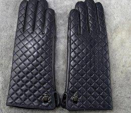 Women winter fur Luxury Leather Softs fashion brand gloves Diamond lattice rabbit soft warm sheepskin Sexy drive Locomotive rider gloves on Sale