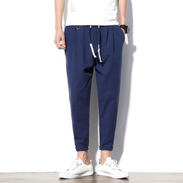 Black Cotton Elastic Ankle Pants Australia - Autumn Men Pants Casual Elastic Waist Mens Ankle-length Pants Loose Sweatpants Trousers Cotton Linen Pants Legible