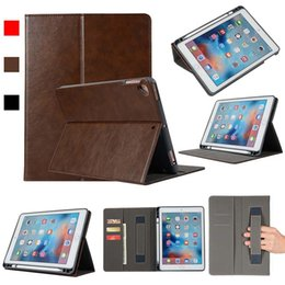 Galaxy Tablet Stand Australia - Classic PU Imitation Leather Tablet Case Cover For ipad AIR2 AIR With Built-in pen slot Folding Stand Dormancy Cover Shell