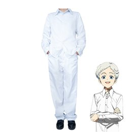 Anime White Uniforms NZ - Anime The Promised Neverland Norman Cosplay Costume Yakusoku no Neverland School Uniform White Shirt and Pants