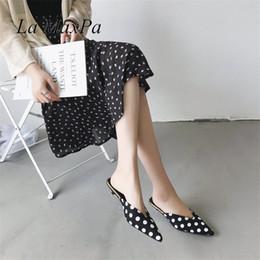 da323ee345e3 Shoes La MaxPa Summer Vogue Mules Slides Women Thin High Heel Slippers Lady  Pointed Toe Sandals Dress Polka Dot Slippers