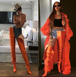 $enCountryForm.capitalKeyWord Australia - Hot Sale-Rihanna High Waist Boots Orange Black Pink Purple Satin Crotch Extreme Long Boots Celebrity Pointed Toe Gladiator overknee boots
