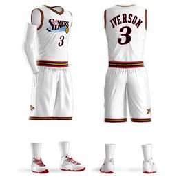 Custom sports jerseys online shopping - 2018Men Youth Allen Iverson Basketball Jersey Sets Uniform kits Adult Sports shirts clothing Breathable basketball jerseys shorts DIY Custom