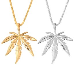 small leaf charms wholesale 2019 - New Gold Silver Plated Small Charm Necklace Maple Leaf Pendant Necklace Hip Hop Jewelry Fashion Unisex Women Men Leaf Ch