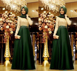 crystal top bridesmaid dress UK - 2020 Elegant Saudi Arabic Prom Evening Dress Formal Gowns Ivory Lace top Hunter Green Skirt Satin Long Sleeve Bridesmaid Party Dress