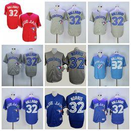 796cf6aeb Top Quality Blue Custom Toronto Men s 29 Joe Carter 32 Roy Halladay Blue  Jays Red Stitched Baseball Jerseys