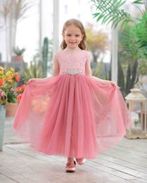 $enCountryForm.capitalKeyWord Canada - Girls lace tulle long dress kids gauze embroidered rhinestones belt princess dress children lace-up Bows backless party dresses F6310