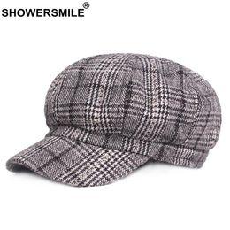 24745a20 wholesale Plaid Newsboy Caps Women Wool Vintage Caps Female Checkered  British Style Painter Cap Autumn Winter Caps And Hats