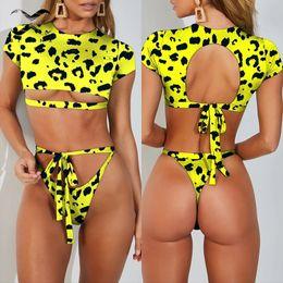 $enCountryForm.capitalKeyWord Australia - Bikinx Crop Top Leopard Bikini Set T-shirt Bandage Female Swimsuit 2019 Hollow Out Bathing Suit Women Sexy Thong Swimwear Bath Y19073001