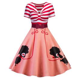 Vintage Dog Print UK - 2019 New Women Dress Elegant Vintage Style Stripes Piecing Pet Dogs Print Bow Belt For Slim Waist Flared Dress Size S-2XL