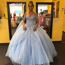Custom Short Gown Canada - 2019 Vintage Light Sky Blue Quinceanera Dress Bead Ball Gown Off The Shoulders Short Sleeve Puffy Sweet 15 Pageant Prom Party Gowns BC2135