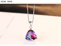necklaces pendants Australia - hot S925 sterling silver colored zircon female pendant necklace LBM60