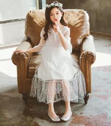 $enCountryForm.capitalKeyWord Australia - Korean version of girl's skirt big child V neck broken flower net gauze dress long skirt fairy princess skirt children wear performance cl