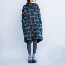 $enCountryForm.capitalKeyWord NZ - 2018 New Fashion Autumn Winter Women Casual Mini Dress Printed Loose Long Sleeve Hooded Tunic Korean Style Oversize Warm Dress