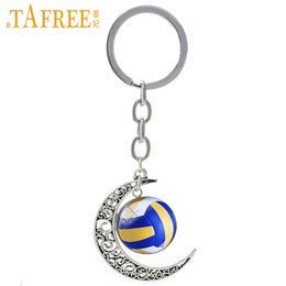 Wholesale TAFREE Summer Beach Volleyball picture moon pendant keychain casual sports football basketball tennis golf key chain ring T255
