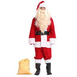 Santa Claus Suits UK - Full Set Christmas Costume Santa Claus Costume for Adults Red Christmas Clothes Santa Claus Luxury Suit+Hat+Beard+Gloves+Belt