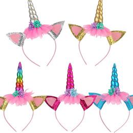 $enCountryForm.capitalKeyWord Australia - Girls Flower Cat Ears Cute Unicorn Headbands Children Headwear Photo Props Party Hair Hoop Hairbands Kids Cartoon Hair Accessories Birthday