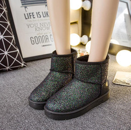 wedged shoes for winter NZ - Winter Shoes Women Snow Boots Sequin Flash Cloth Warm Plush for Cold Winter Women's Boots Ladies Wedge Shoes