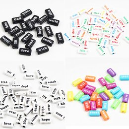 $enCountryForm.capitalKeyWord NZ - word Selling! 50pcs Acrylic 8x14mm Phrase Word Spacer Letter Beads For Jewelry Making DIY Necklace Bracelet