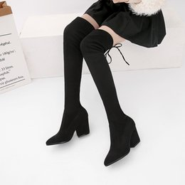 Brown Stretch Knee High Boots Australia - New style Female Autumn Winter Thigh High Boots Stretch Flock High Heels Women Over The Knee Botas Mujer Shoes Plus Size 34-43