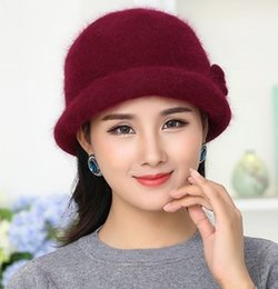 Rabbit Fur Scarves Caps Australia - New Winter Hat Sets For Women Warm Knitted Floral Skullies Solid Color Wool Mixed Rabbit Fur Beanies Baggy Headwear Cap