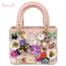 Spring Hand Bags Australia - 2019 Spring Fashion New Tote Bag Quality Pu Leather Women's Designer Handbag Hand-studded Pearl Flower Shoulder Messenger Bags
